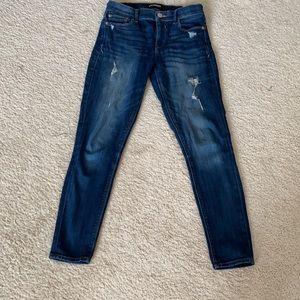 Express distressed dark wash skinny jeans